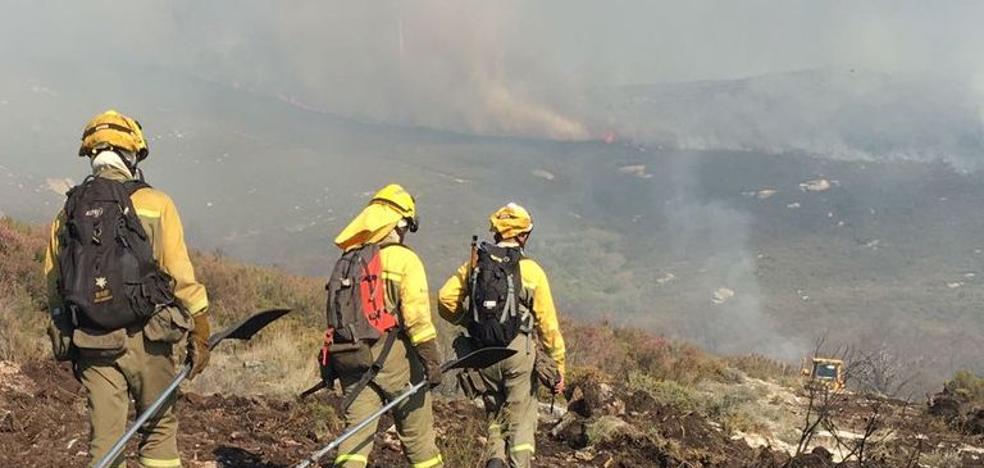 Medios aéreos y terrestres participan en la extinción de un incendio en Palacios de la Valduerna