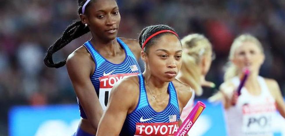 Allyson Felix 'vuela' por encima de Bolt y Farah