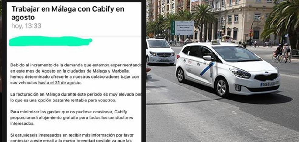 La nota de Cabify que puso en alerta a los taxistas de Málaga