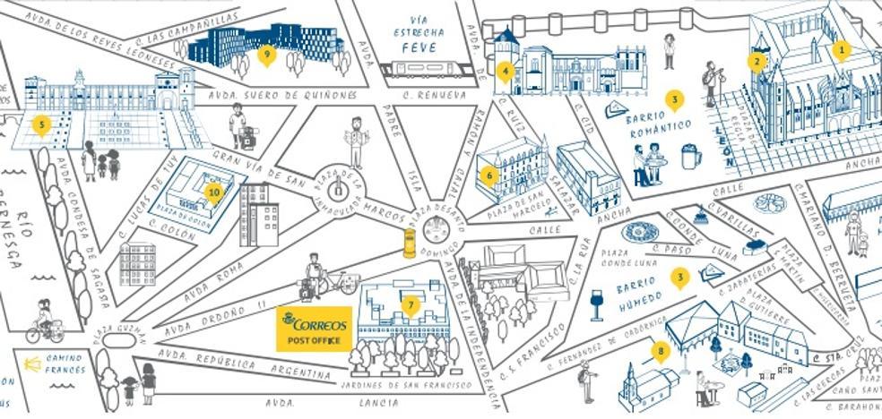 Correos distribuye un mapa que anima a los peregrinos a descubrir los encantos de León