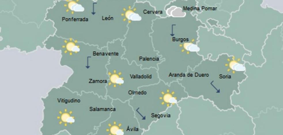 Cielo nuboso y posibilidad de lluvia en Castilla y León