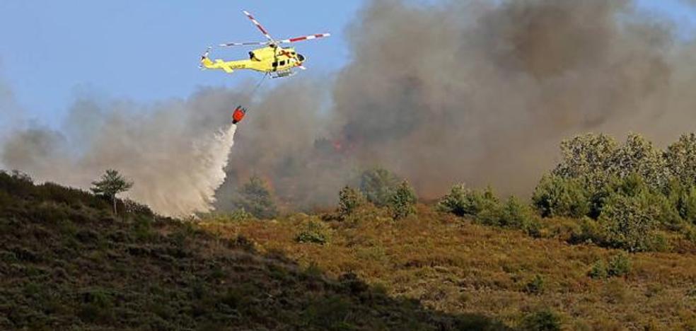Varios medios aéreos intervienen en un incendio intencionado activo en Berlanga del Bierzo