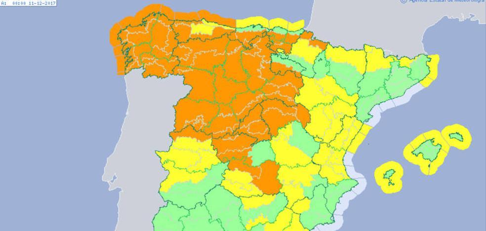 'Ana' obliga a la Aemet a pintar el mapa de Castilla y León de naranja