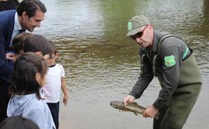 Junta y CHD repueblan el Bernesga de truchas y crean el primer coto de pesca urbano de la comunidad