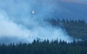 Un gran despliegue de medios aéreos controla el incendio intencionado declarado en Molinaseca