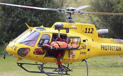 Evacuado en helicóptero un trabajador que se clavó una rama en el pecho en un pinar de Cubillos del Sil