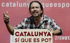 Pablo Iglesias visita en prisión a los «presos políticos» Cuixart y Sànchez