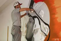 Preparativos de la exposición 'Del carbón al grafiti' en Sabero