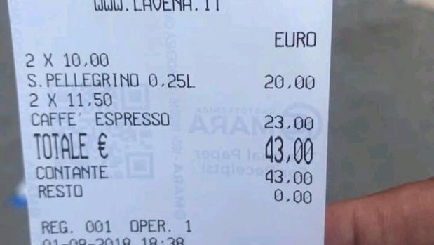 Timo en Venecia: dos cafés y dos aguas por 43 euros