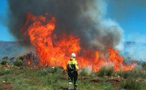 Medios aéreos y terrestres tratan de controlar un incendio en Caldas de Luna
