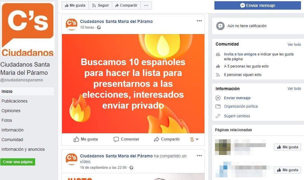 Ciudadanos se desvincula de la petición de candidatos en facebook para Santa María del Páramo