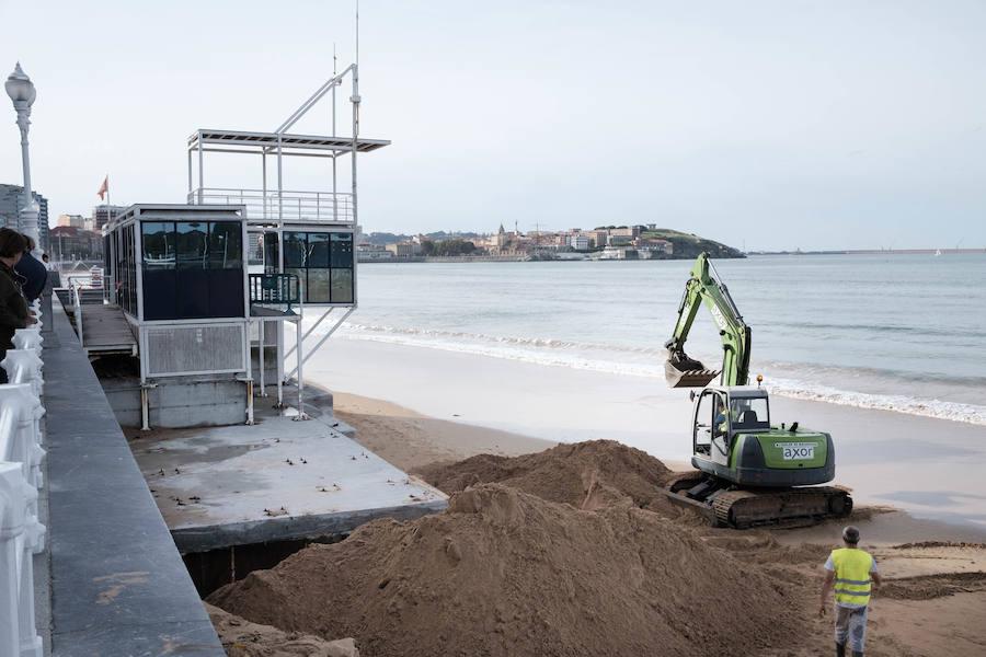 La playa de San Lorenzo pierde arena