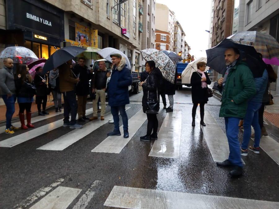 Protesta de los comerciantes de la calle Camino de Santiago de Ponferrada