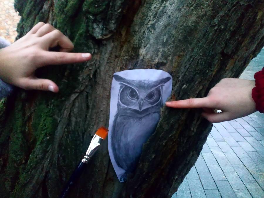 Arte urbano para decorar los arboles