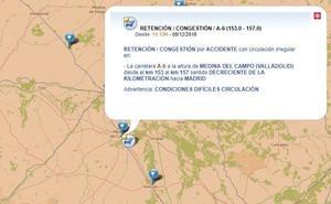 Una accidente en la A-6 sentido Madrid deja cinco kilómetros de retención en Medina del Campo