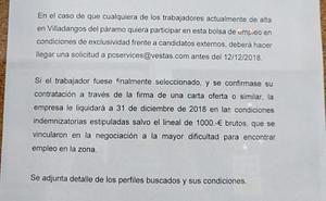 Vestas ofrece una bolsa de empleo en exclusiva a cambio de renunciar a parte de la indemnización