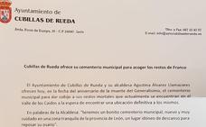 La alcaldesa de Cubillas de Rueda ofrece su cementerio para acoger los restos de Franco
