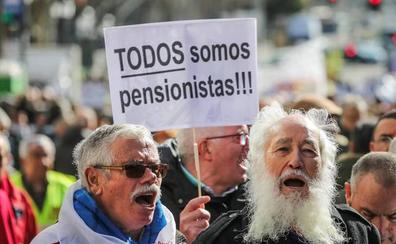 Los taxistas se unen a la protesta de los jubilados en Madrid