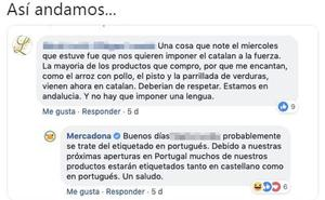 El 'zasca' del Mercadona a la queja de una mujer: «Nos quieren imponer el catalán»