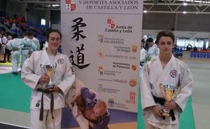 Daniela y Miguel Ángel, en la final del Campeonato de España junior de judo