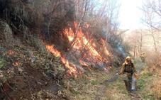 Medios aéreos y terrestres trabajan en la extinción de un incendio en los montes de La Baña