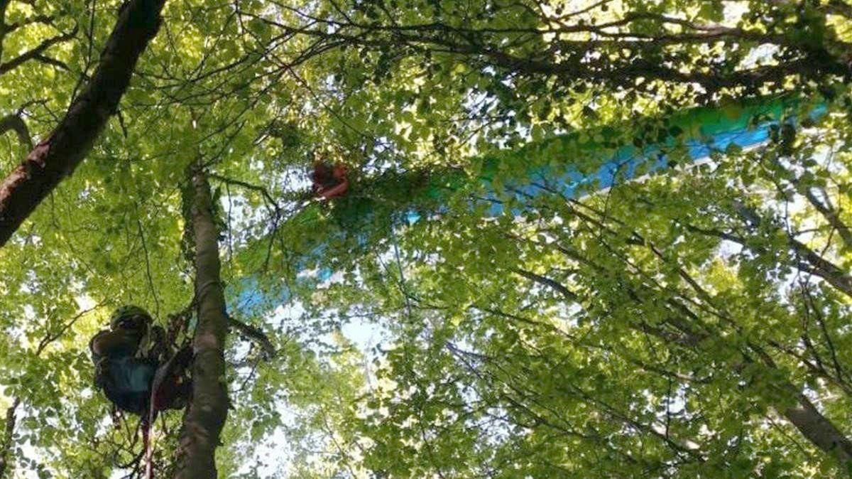 El Greim de León rescata a una mujer de 66 años atrapada con su ala delta en un árbol