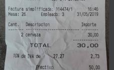 Estupefacción por la cuenta de un bar en Madrid: dos cervezas por 30 euros