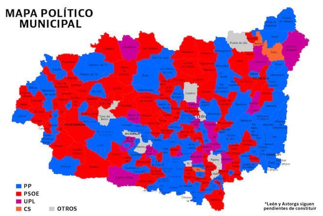 Así quedan repartidos todos los ayuntamientos de la provincia de León