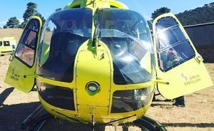 Evacuado en helicóptero un motorista de 54 años herido tras sufrir una caída en la N-625 en Burón