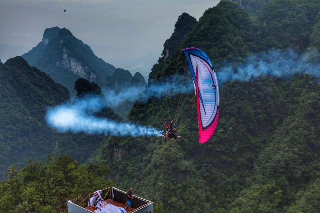 Prueba de parapente en China