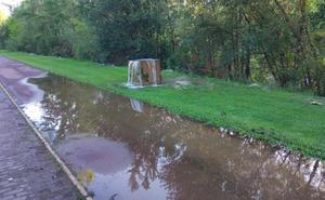 El carril bici del río Bernesga se convierte en un cauce de agua