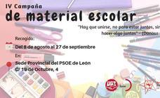 Juventudes Socialistas de León inicia su IV Campaña de Recogida de Material Escolar