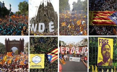 El 'procés' catalán en ocho Diadas
