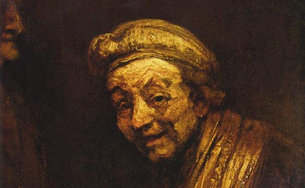 Detalle del autorretrato de Rembrandt 'como Zeuxis riendo'.