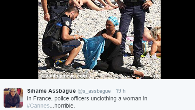Indignación a favor de dos bañistas obligadas a quitarse el 'burkini' en la playa de Niza