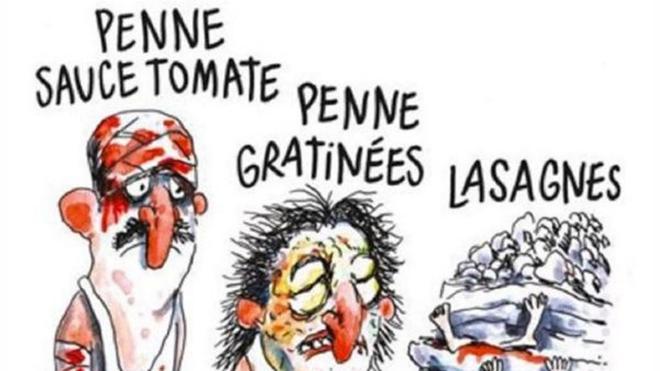 Italia se indigna con 'Charlie Hebdo' por una viñeta sobre el terremoto de Amatrice
