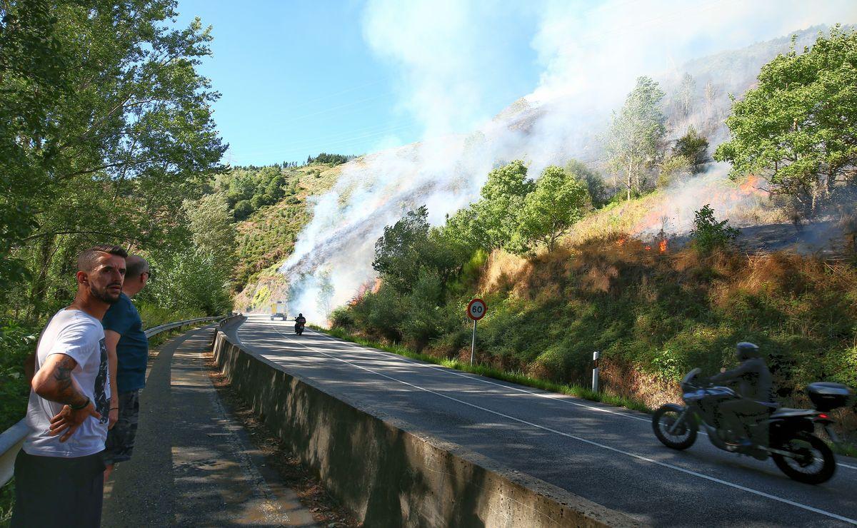 Cuatro incendios se mantienen activos en Trabadelo, Vega de Valcarce, Dehesas e Igüeña